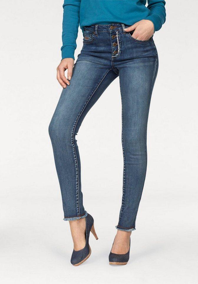 arizona skinny fit jeans mit knopfleiste und fransen. Black Bedroom Furniture Sets. Home Design Ideas