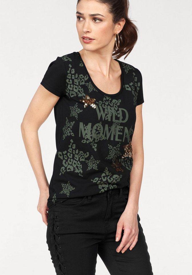 laura scott t shirt mit modischem print und glitzernden. Black Bedroom Furniture Sets. Home Design Ideas