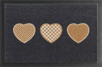 Fußmatte »Three Hearts«, HANSE Home, rechteckig, Höhe 7 mm, Schmutzfangmatte, rutschhemmend beschichtet