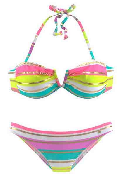 s.Oliver RED LABEL Beachwear Bandeau-Bikini mit raffiniertem V-Ausschnitt