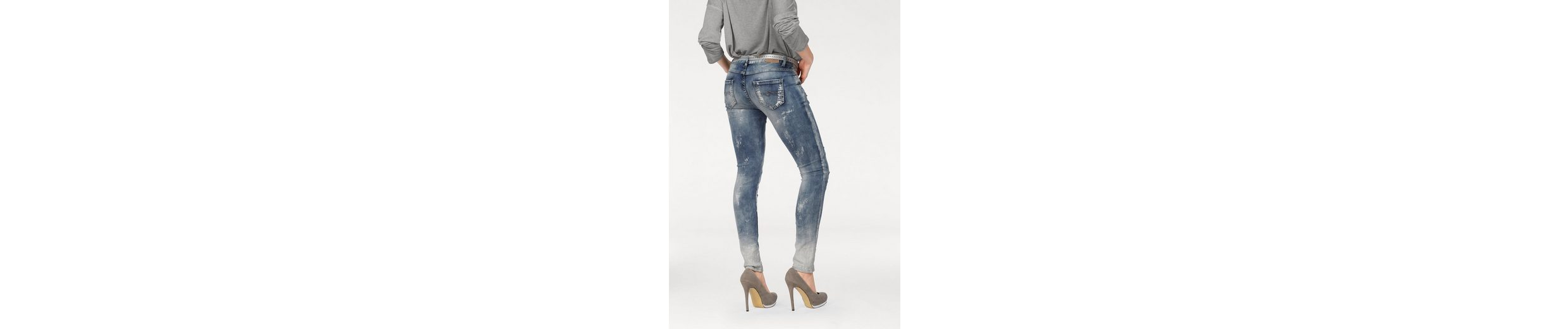 Blue Monkey Skinny-fit-Jeans MANIE, mit Destroyed-Effekten und Glitzerdetails