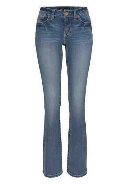 Arizona Bootcut-Jeans »mit Kontrastnähten und Pattentaschen« Mid-Waist