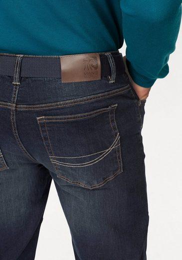 Man's World Straight-Jeans (Set, mit Gürtel), mit modischen Ziernähten