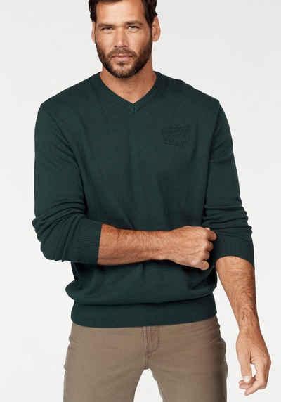 Man´s World V-Ausschnitt-Pullover, Kleine Markenapplikation unten links Sale Angebote Schipkau