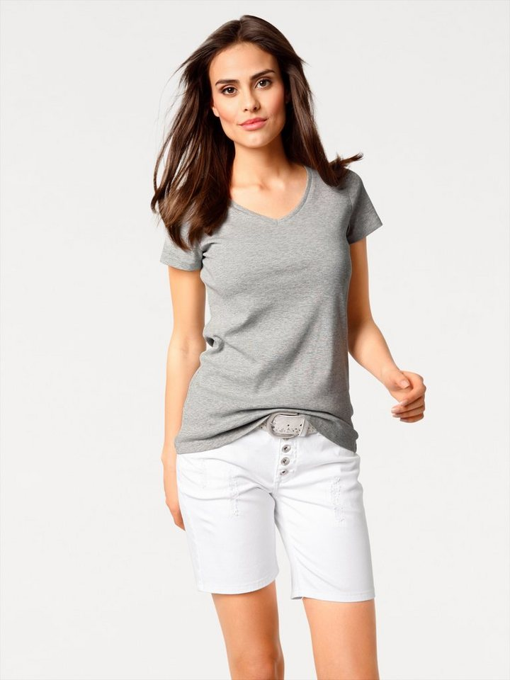 c3aa6b66d4c60 heine CASUAL V-Shirt Basic, Angenehme, pflegeleichte Qualität online ...