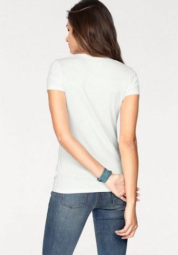 T-shirt Déquipe De Tailleur Tom Tailor, Avec Gros Caractères Et Surpiqûres Contrastées