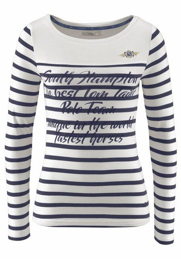Tom Tailor Polo Team Langarmshirt, In Stripes Look With Front-pressure