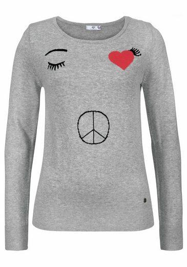 AJC Rundhalspullover, mit eingestrickten Peace & Love Details