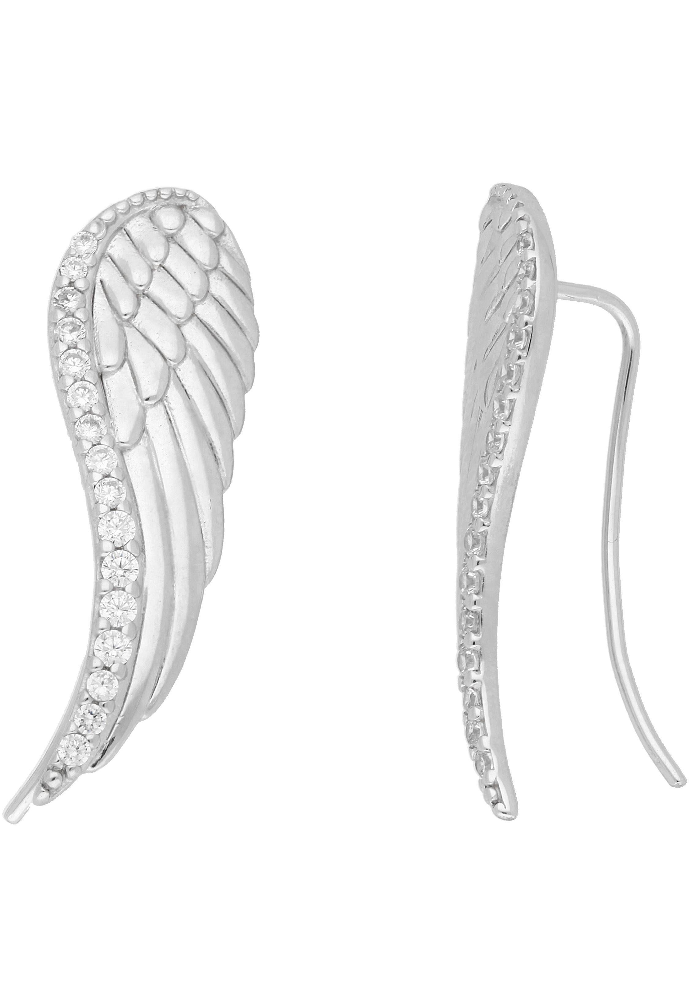 Paar Ohrhaken »Flügel«, mit Zirkonia