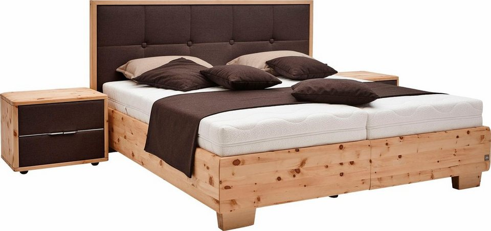 ada premium zirben boxspringbett pure pine mit gepolstertem kopfteil im holzrahmen in 3. Black Bedroom Furniture Sets. Home Design Ideas