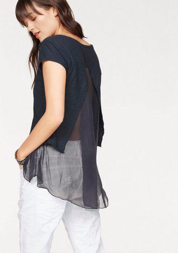 Please Jeans T-Shirt, mit transparentem Seiden-Einsatz