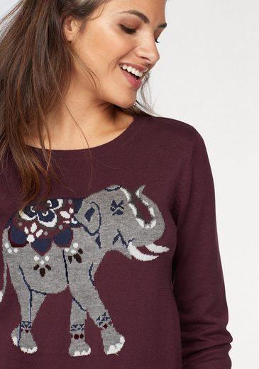 AJC Rundhalspullover, mit eingestricktem Elephant