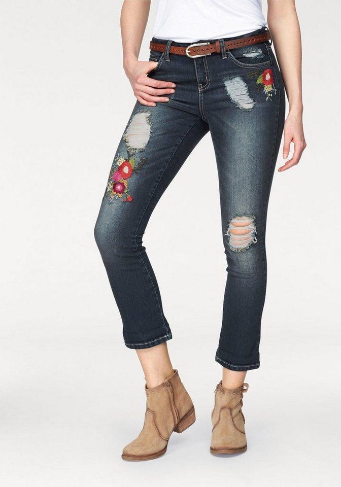 ajc 7 8 jeans mit floralen blumen stickereien otto. Black Bedroom Furniture Sets. Home Design Ideas