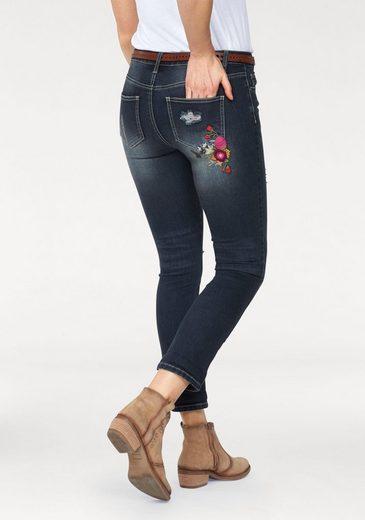 AJC 7/8-Jeans, mit floralen Blumen-Stickerei