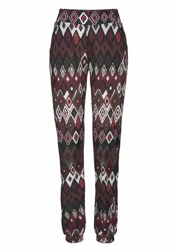 Ajc Jersey Trousers In Harem Look With Ethno-ikat-print