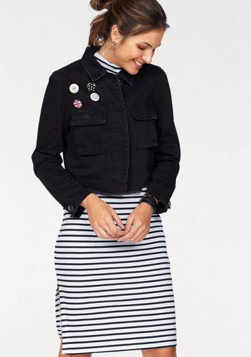 AJC Jeansjacke, mit Ansteckern, offenen Kanten und Print hinten