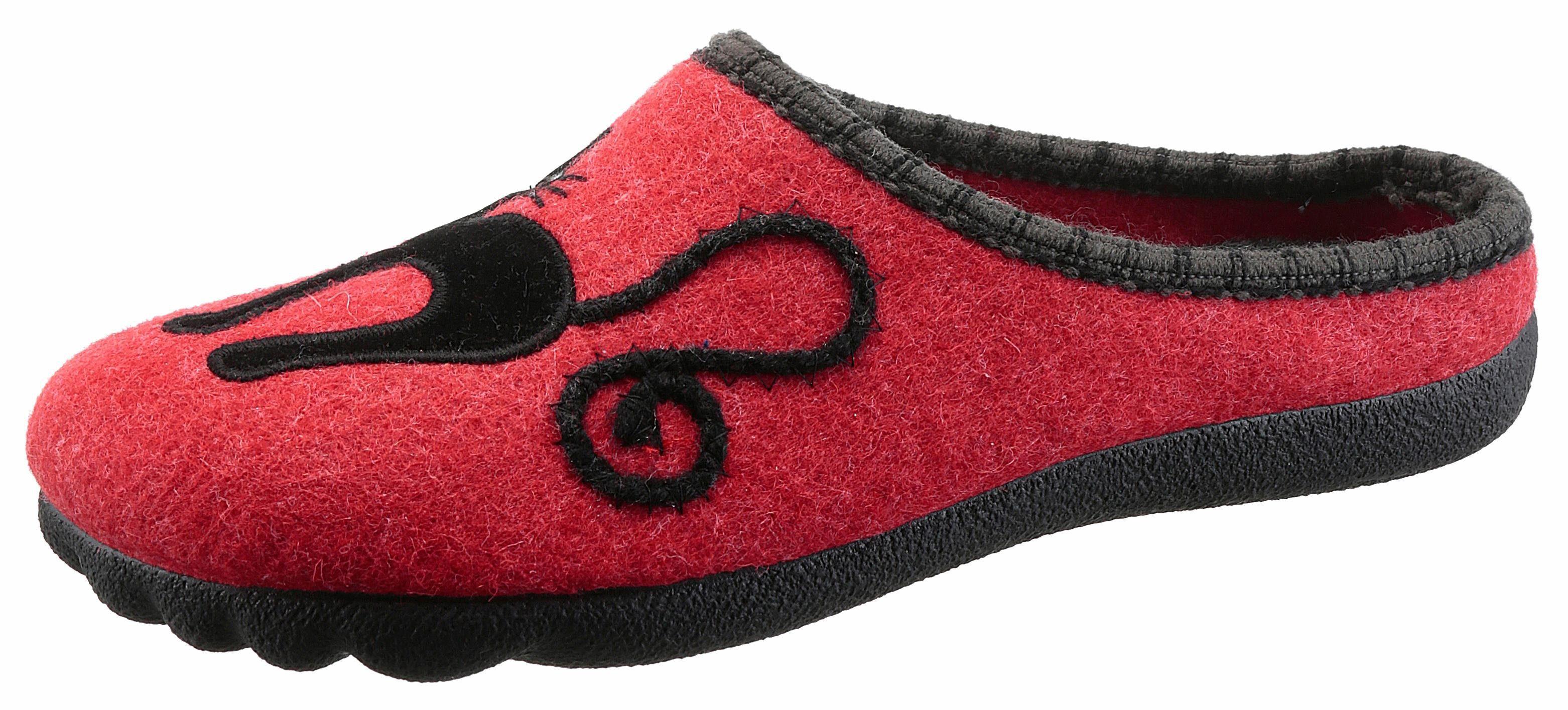 Maybe Pantoffel, mit Katzen-Motiv online kaufen  rot-schwarz
