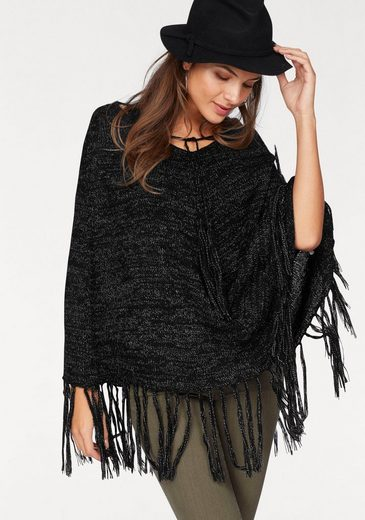 Ajc Knit Poncho With Fringe At The Hem