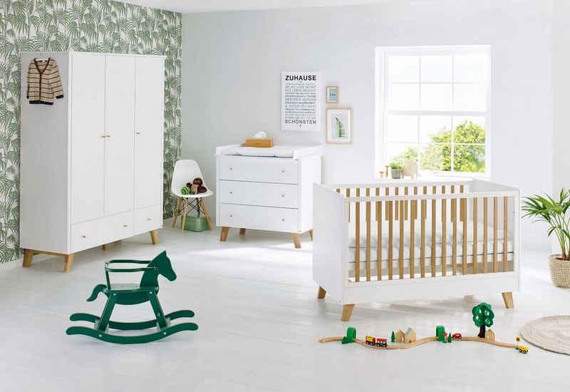 Pinolino® Babyzimmer-Komplettset »Pan«, (Set, 3-St), breit groß; mit Kinderbett, Schrank und Wickelkommode; Made in Europe