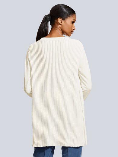 Alba Moda Strickjacke mit plissiertem Rückenteil