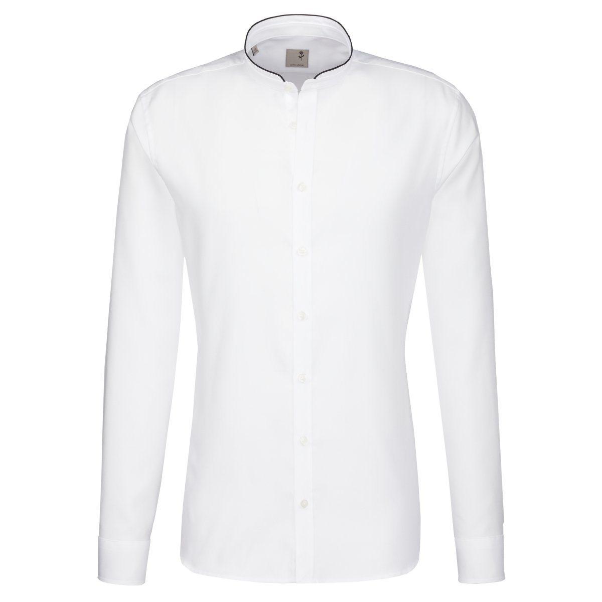 Herren seidensticker Businesshemd Tailored, Stehbund-Kragen braun, weiß | 04048869186233