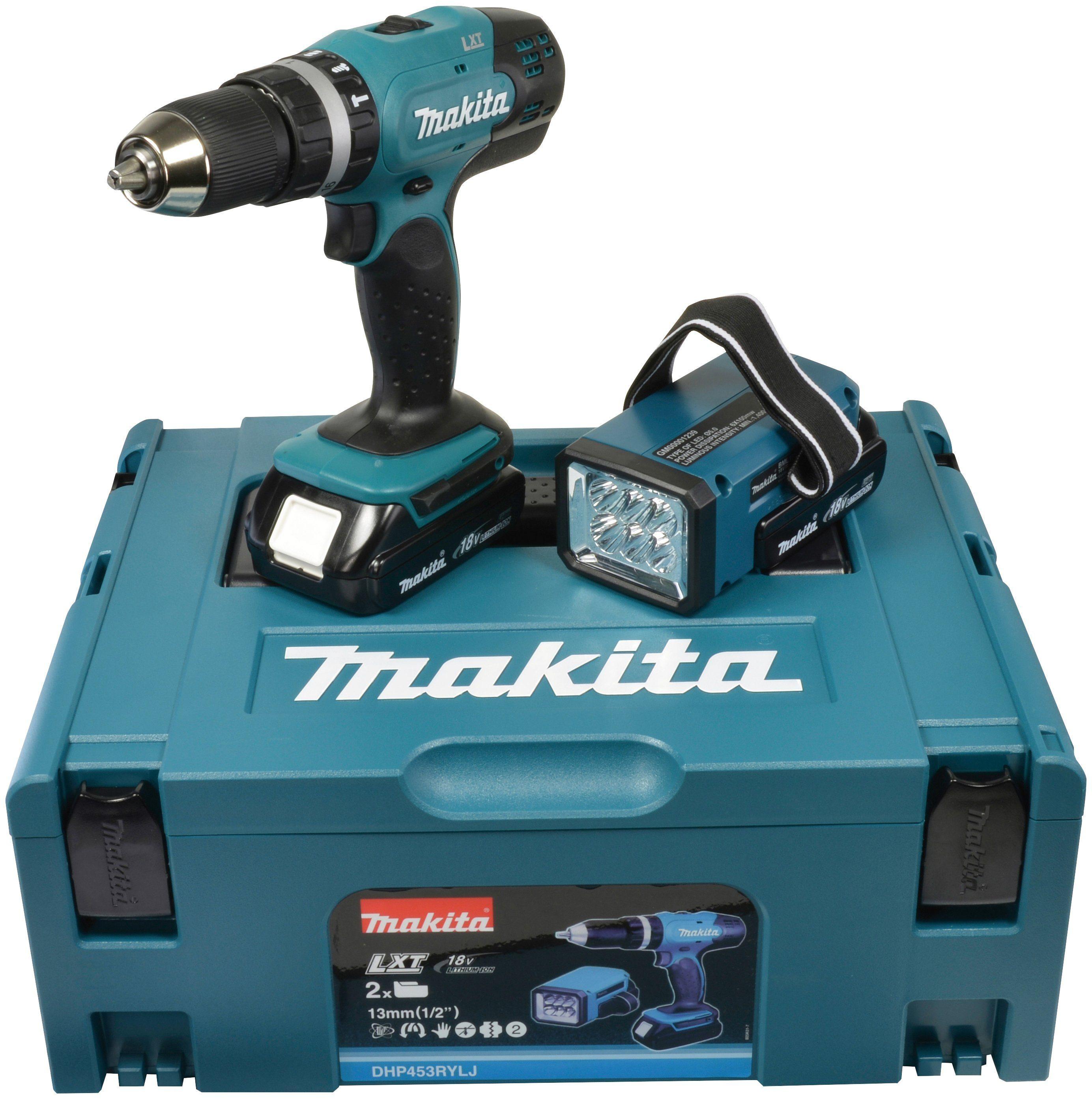 MAKITA Akku-Schlagbohrschrauber »DHP453RYLJ«, 42 Nm, inkl. 2 Akkus (18 V, 1,5 Ah), Ladegerät, Lampe