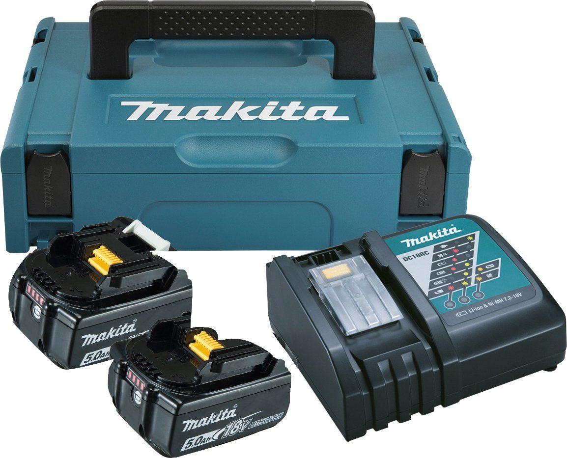 MAKITA Akku-Set »Power Source Kit«, 2 Akkus (18 V, 5 Ah) und Ladegerät