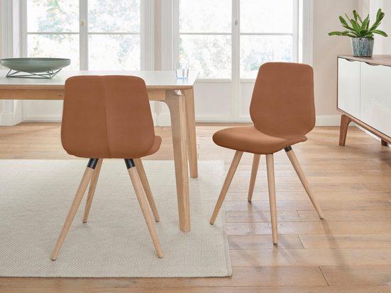 PBJ Designhouse Lederstuhl »stick cut« in walnut oder white oak (2 Stück)