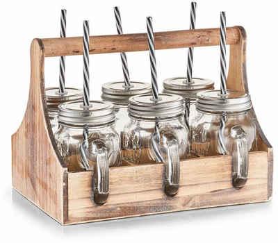 Zeller Present Glas, Glas, Metall, Holz, je 6 Gläser, Deckel und Strohhalme, in praktischer Holzkiste