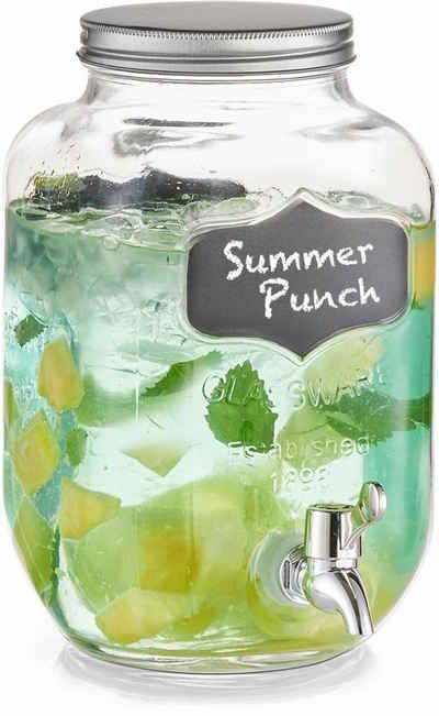Zeller Present Getränkespender ., Glas, zum Beschriften, 3,8 Liter