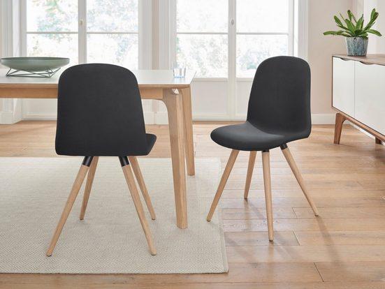 PBJ Designhouse Lederstuhl »stick classic« in walnut oder white oak Massivholz (2 Stück)