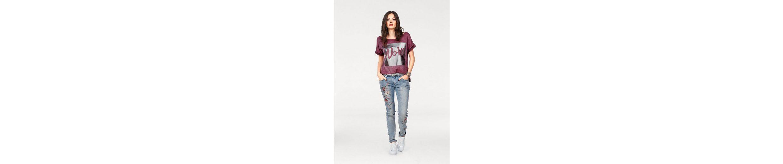 Blue Monkey Print-Shirt, mit großem Silberprint und Glitzersteinen