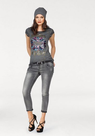 Blue Monkey Rundhalsshirt KISSES, mit Pailletten-Motiv