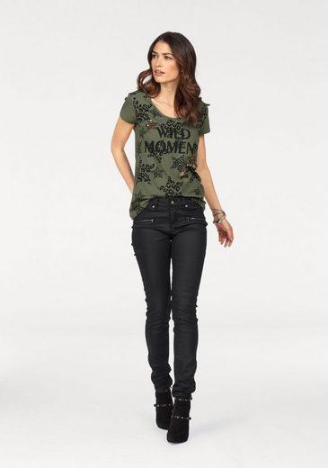 Laura Scott T-Shirt, mit modischem Print und glitzernden Pailletten