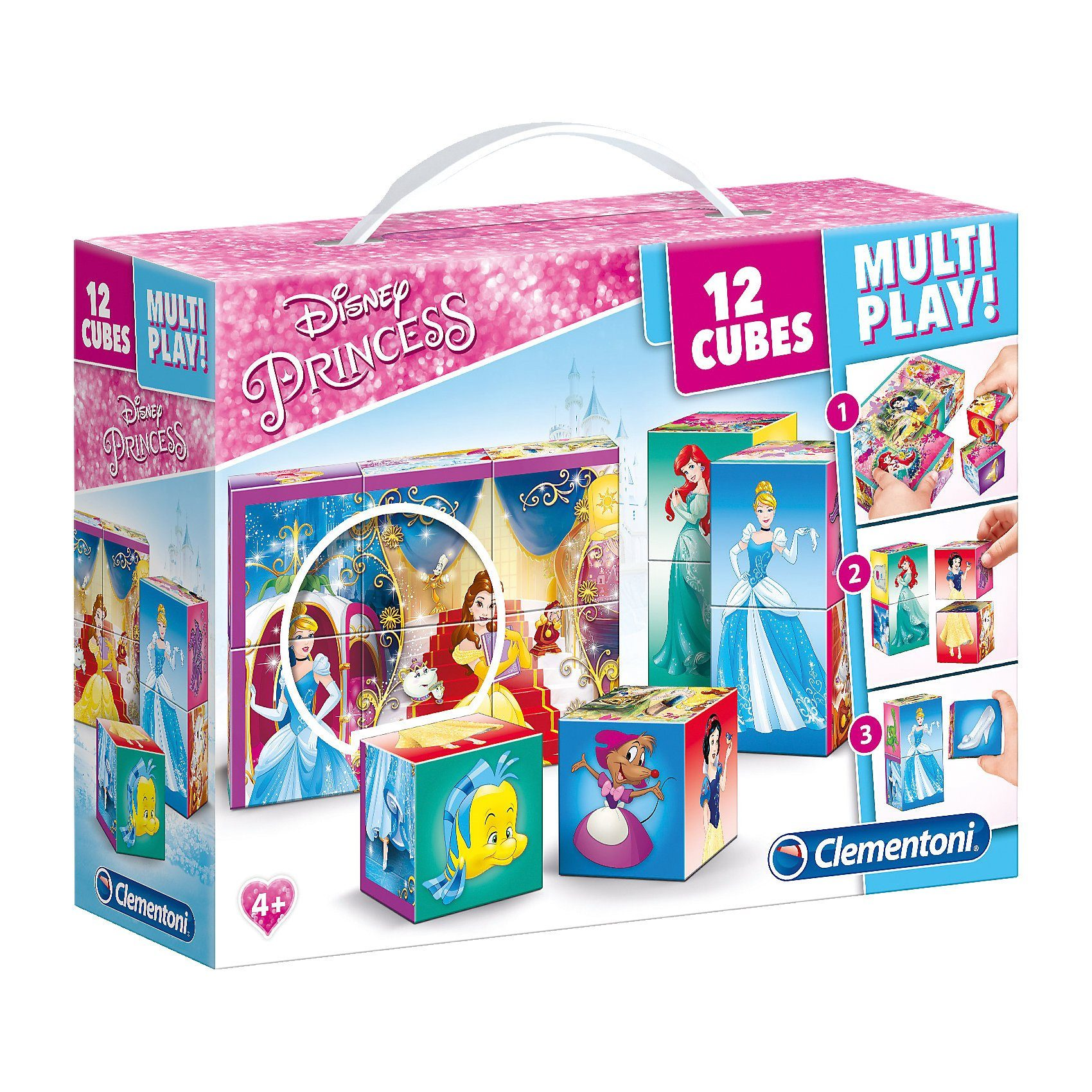 Clementoni® Würfelpuzzle 12er Multiplay - Disney Princess