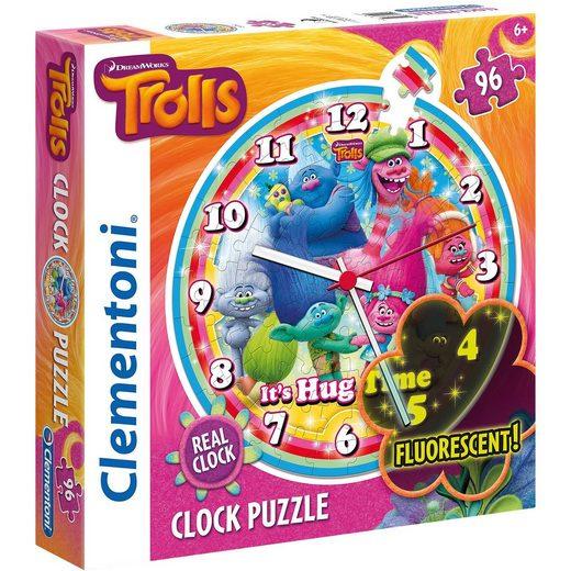 Clementoni® Puzzleuhr 96 Teile - Trolls