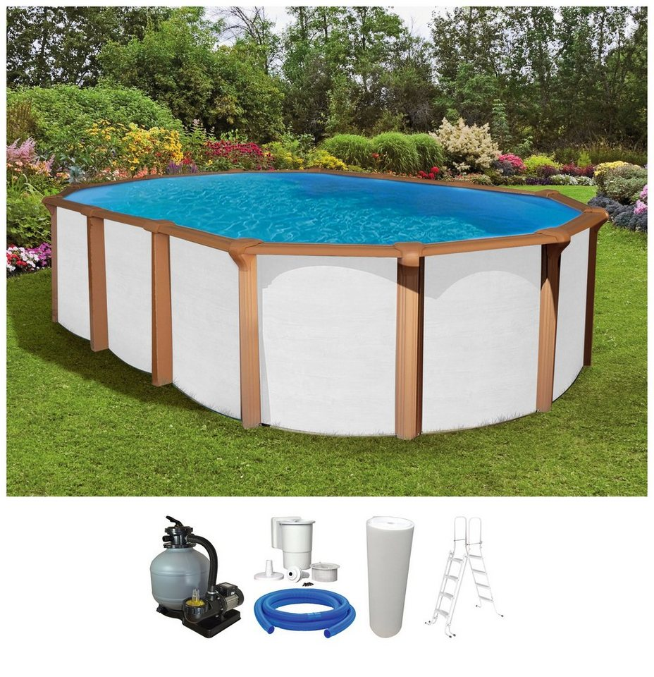Kwad set ovalpool white timber 130 cm tiefe 5 tlg for Garten pool hagebau