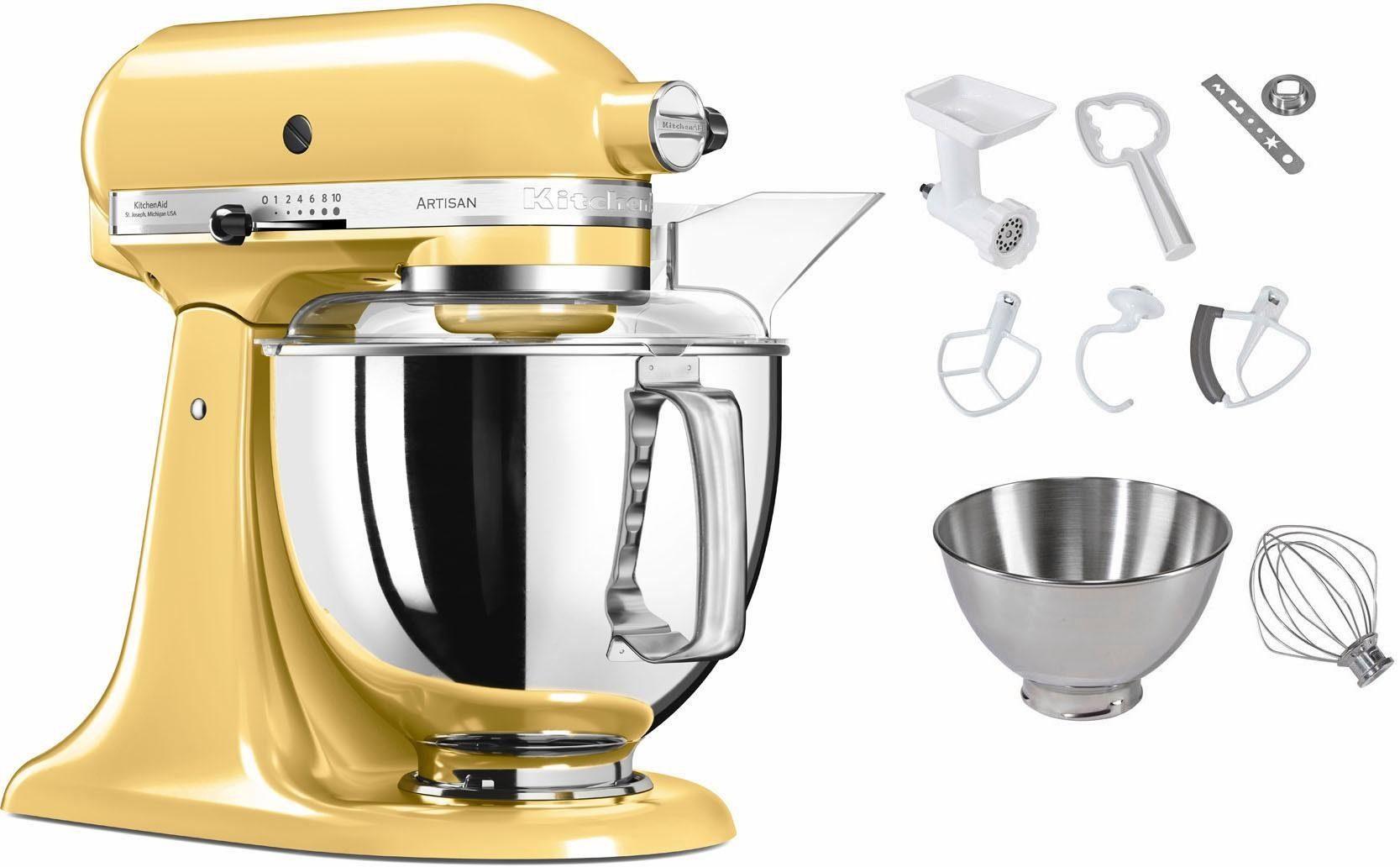 KitchenAid Küchenmaschine 5KSM175PSEMY Artisan, 300 W, 4,83 l Schüssel, inkl. Sonderzubehör im Wert von ca. 112,-€ UVP