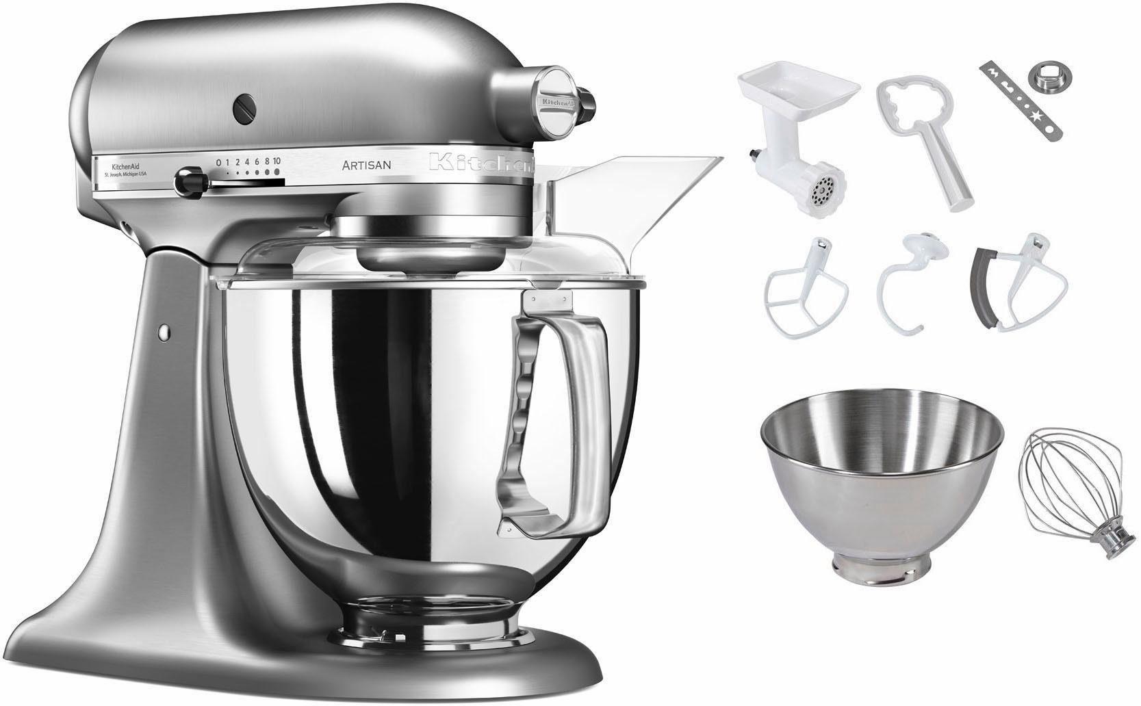 KitchenAid Küchenmaschine 5KSM175SENK Artisan, 300 W, 4,83 l Schüssel, inkl. Sonderzubehör im Wert von ca. 112,-€ UVP