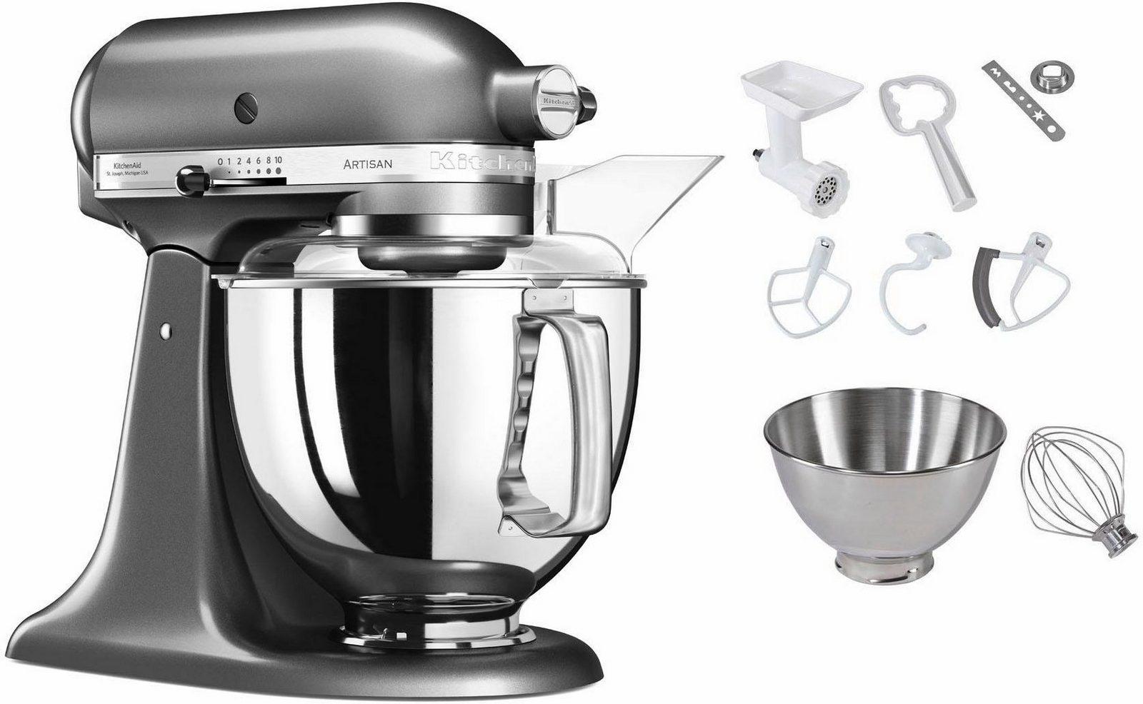 KitchenAid Küchenmaschine 5KSM175PSEMS Artisan, 300 W, 4,83 l Schüssel, inkl. Sonderzubehör im Wert von ca. 112,-€ UVP