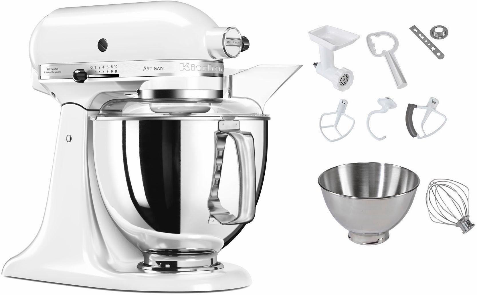 KitchenAid Küchenmaschine 5KSM175PSECA Artisan, 300 W, 4,83 l Schüssel, inkl. Sonderzubehör im Wert von ca. 112,-€ UVP