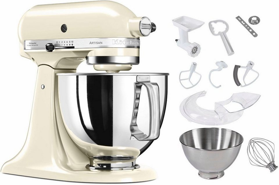 kitchenaid k chenmaschine 5ksm125seac artisan 300 w 4 83 l sch ssel zubeh r im wert von 214. Black Bedroom Furniture Sets. Home Design Ideas