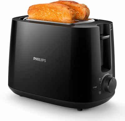 Philips Toaster HD2581/90 Daily Collection, 2 kurze Schlitze, 830 W, integrierter Brötchenaufsatz, 8 Bräunungsstufen, schwarz