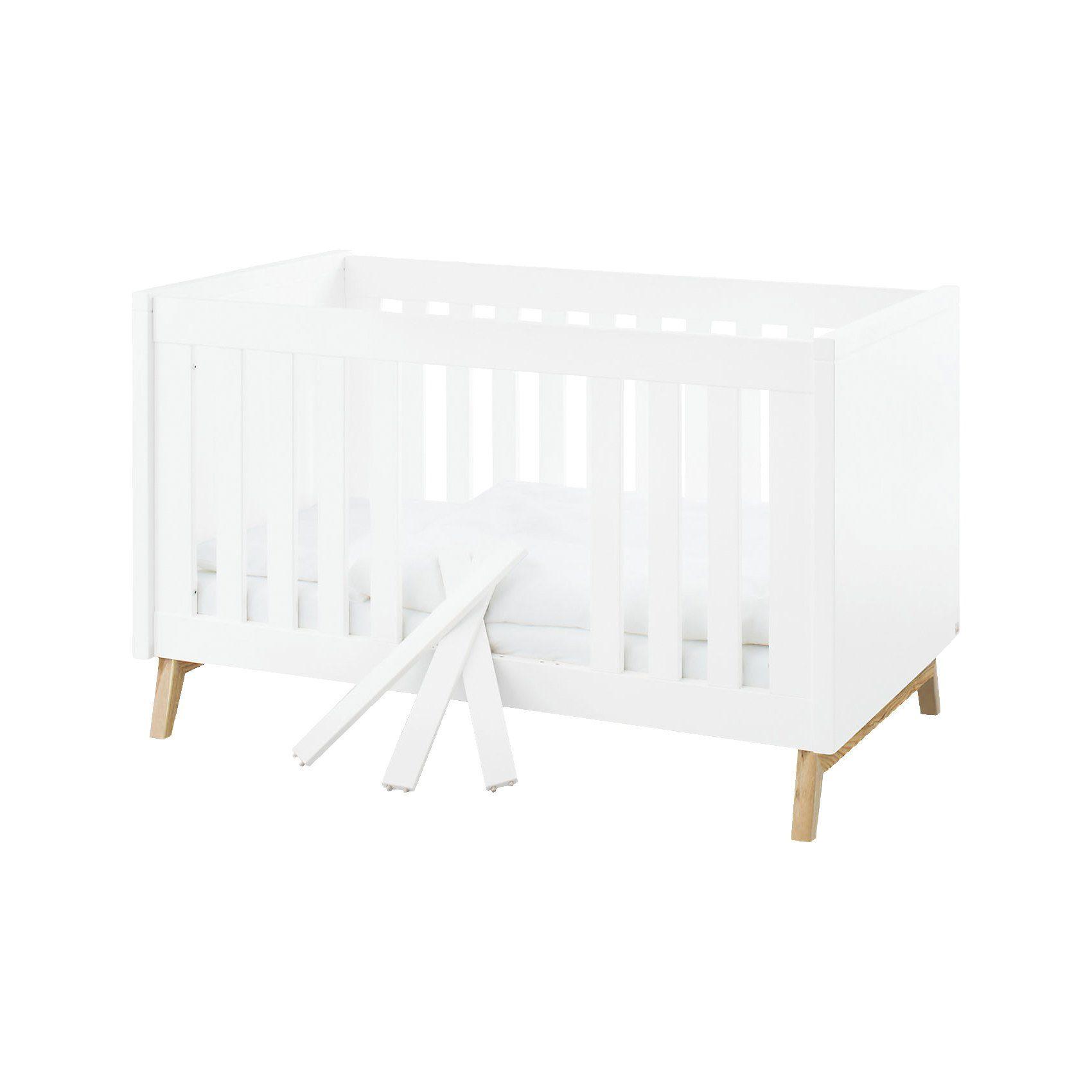 Pinolino Kinderbett RIVA, 70 x 140 cm, Esche teilmassiv, weiß lackier