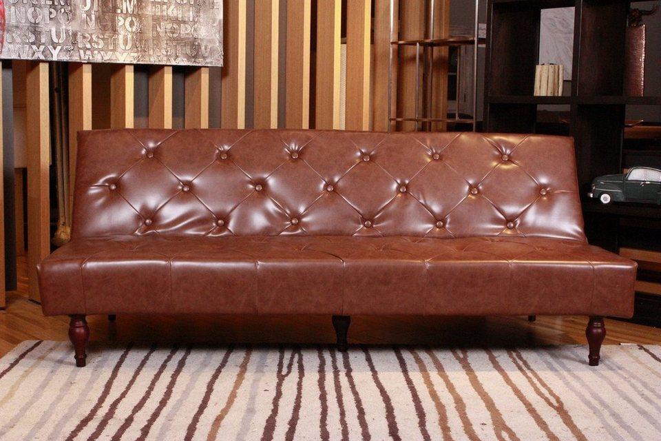 kawola sofa schlafsofa kunstleder versch farben vintage online kaufen otto. Black Bedroom Furniture Sets. Home Design Ideas