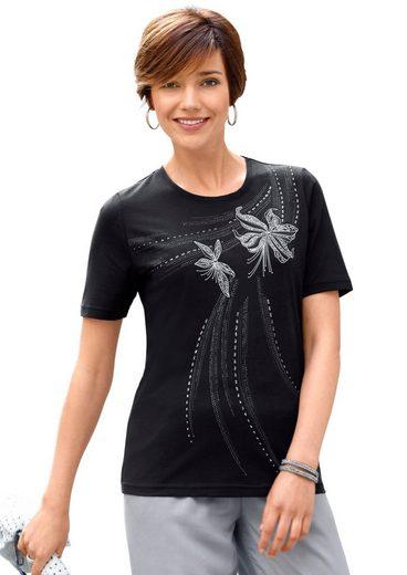 Classic Basics Shirt mit platziertem Printmotiv