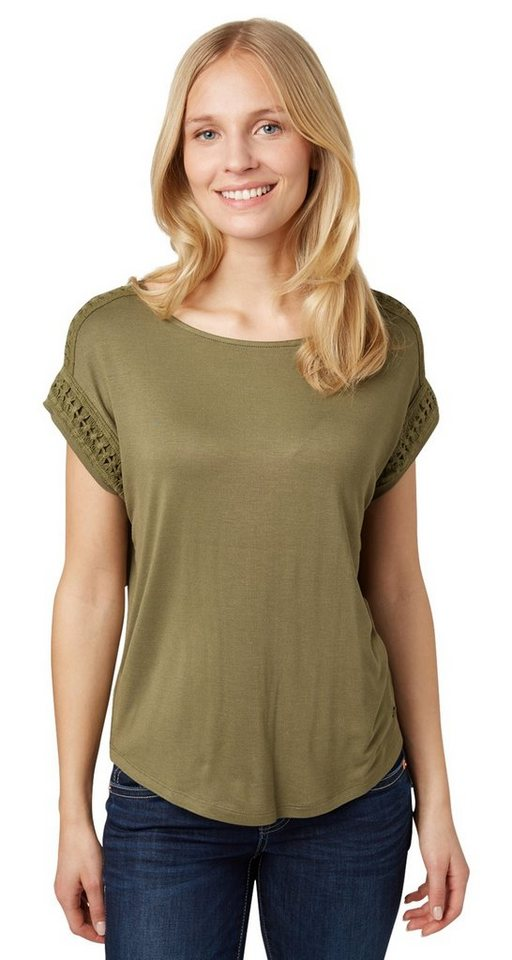 tom tailor t shirt t shirt mit bord re aus spitze online. Black Bedroom Furniture Sets. Home Design Ideas