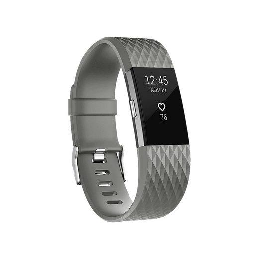 Wigento Für Fitbit Charge 2 Kunststoff / Silikon Armband für Frauen / Größe S Grau Uhr Fitnessband