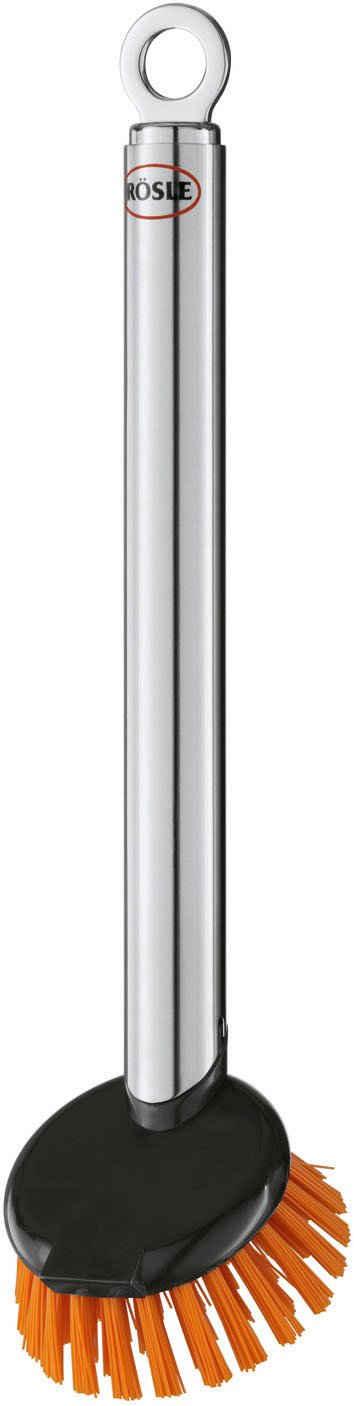 Reinigungsbürste, RÖSLE, Spülbürste mit Wechselkopf, strapazierfähige Polyesterborsten, Edelstahl 18/10, spülmaschinengeeignet