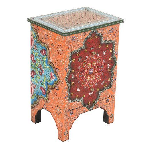 Casa Moro Nachtkommode »Orientalische handbemalte Kommode Sheela 40x30x60 (B/T/H), RK45-20« (1 St), Handbemalt mit Paisley Muster und Steinchen verziert
